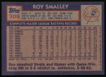 1984 Topps #305  Roy Smalley  Back Thumbnail