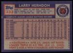 1984 Topps #333  Larry Herndon  Back Thumbnail