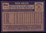 1984 Topps #344  Rick Miller  Back Thumbnail