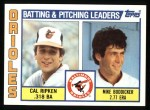 1984 Topps #426   -  Mike Boddicker / Cal Ripken Jr. Orioles Leaders & Checklist Front Thumbnail