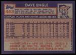 1984 Topps #463  Dave Engle  Back Thumbnail