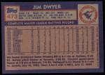 1984 Topps #473  Jim Dwyer  Back Thumbnail