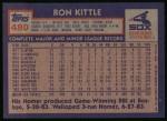 1984 Topps #480  Ron Kittle  Back Thumbnail
