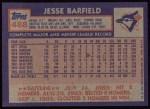 1984 Topps #488  Jesse Barfield  Back Thumbnail