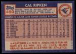 1984 Topps #490  Cal Ripken Jr.  Back Thumbnail