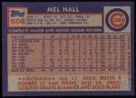 1984 Topps #508  Mel Hall  Back Thumbnail