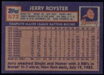 1984 Topps #572  Jerry Royster  Back Thumbnail