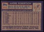 1984 Topps #592  Andre Robertson  Back Thumbnail