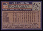 1984 Topps #605  Mike Caldwell  Back Thumbnail