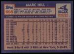 1984 Topps #698  Marc Hill  Back Thumbnail