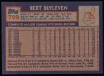 1984 Topps #789  Bert Blyleven  Back Thumbnail