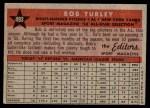 1958 Topps #493   -  Bob Turley All-Star Back Thumbnail