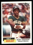 1984 Topps #2   -  Rickey Henderson Highlight - 100 SBs for 3rd Time Front Thumbnail