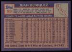 1984 Topps #53  Juan Beniquez  Back Thumbnail