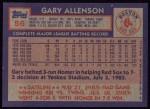 1984 Topps #56  Gary Allenson  Back Thumbnail