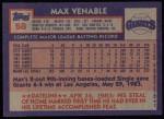 1984 Topps #58  Max Venable  Back Thumbnail