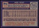 1984 Topps #107  Ned Yost  Back Thumbnail