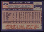 1984 Topps #109  Brad Wellman  Back Thumbnail