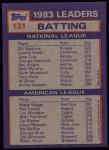 1984 Topps #131  Bill Madlock / Wade Boggs  Back Thumbnail