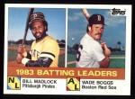 1984 Topps #131  Bill Madlock / Wade Boggs  Front Thumbnail