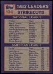 1984 Topps #136  Steve Carlton / Jack Morris  Back Thumbnail
