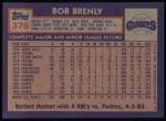 1984 Topps #378  Bob Brenly  Back Thumbnail