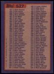 1984 Topps #527  Checklist  Back Thumbnail