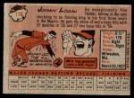 1958 Topps #110  Johnny Logan  Back Thumbnail