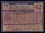 1984 Topps #632  Tom Foley  Back Thumbnail