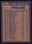 1984 Topps #637   -  John Denny / Greg Mathews Phillies Leaders & Checklist Back Thumbnail