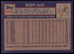 1984 Topps #652  Rudy May  Back Thumbnail