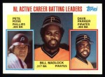1984 Topps #701   -  Pete Rose / Dave Parker / Bill Madlock NL Active Career Batting Leaders Front Thumbnail