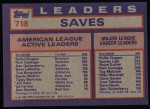 1984 Topps #718  Goose Gossage / Dan Quisenberry / Rollie Fingers  Back Thumbnail
