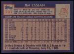 1984 Topps #737  Jim Essian  Back Thumbnail