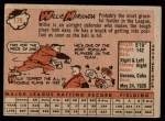 1958 Topps #179  Willy Miranda  Back Thumbnail