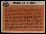 1962 Topps #135 NRM  -  Babe Ruth Babe as a Boy Back Thumbnail
