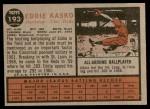 1962 Topps #193 NRM Eddie Kasko  Back Thumbnail