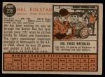 1962 Topps #276  Hal Kolstad  Back Thumbnail