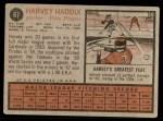 1962 Topps #67  Harvey Haddix  Back Thumbnail