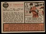 1962 Topps #195 NRM Joe Cunningham  Back Thumbnail