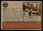 1962 Topps #134 BLU Billy Hoeft   Back Thumbnail