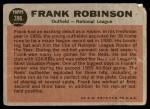 1962 Topps #396   -  Frank Robinson All-Star Back Thumbnail