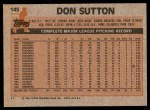 1983 Topps #145  Don Sutton  Back Thumbnail
