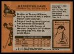 1975 Topps #217  Warren Williams   Back Thumbnail