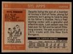1972 Topps #11  Syl Apps  Back Thumbnail