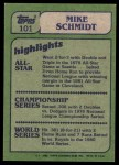 1982 Topps #101   -  Mike Schmidt In Action Back Thumbnail