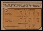 1973 Topps #196   Black Hawks 4 Rangers 1  Back Thumbnail