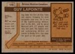 1973 Topps #170  Guy Lapointe   Back Thumbnail