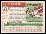 2004 Topps Heritage #64  Dave Crouthers  Back Thumbnail