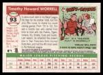 2004 Topps Heritage #93  Tim Worrell  Back Thumbnail